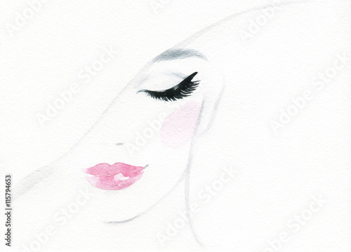 Poster Portrait Aquarelle beautiful woman face. abstract watercolor. fashion illustration