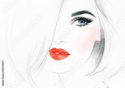 Door stickers Watercolor Face beautiful woman face. abstract watercolor. fashion illustration