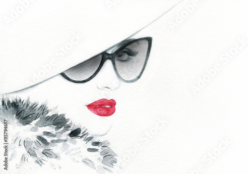 Beautiful woman with sunglasses. Abstract fashion watercolor illustration