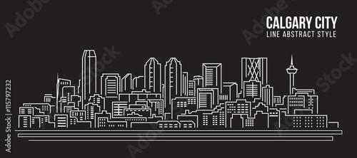 Pejzażu miejskiego budynku Kreskowej sztuki Wektorowy Ilustracyjny projekt - Calgary miasto