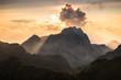 beam of light on the mountain peak