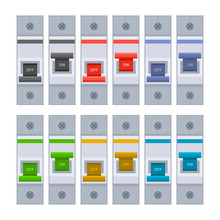 Color Circuit Breakers Set On White Background. Vector