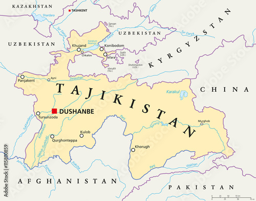 Tajikistan political map with capital Dushanbe, national borders ...