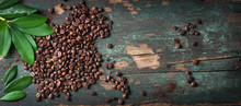 Roasted Coffee Beans With Gree...