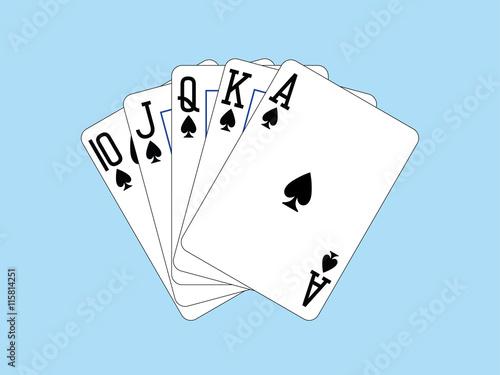 Foto  Spielkarten - Royal Flush der Spaten
