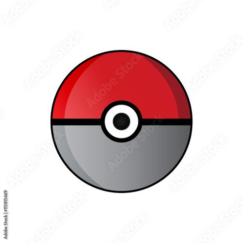 Photo  Pokeball icon vector isolated on white background