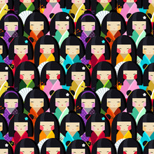 Vector Seamless Pattern With Kokeshi Dolls In Different Traditional Japanese Clothes. Collection Of Beautiful And Cute Women Or Girls Toys