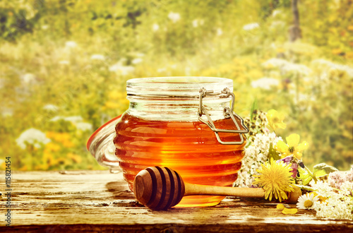 Valokuva  Bowl of honey with dipper in field of flowers