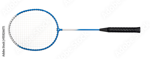 Photo child's hand holding a badminton racket on a white