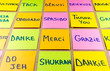Thank you in twenty languages, colorful sticky notes with handwriting on cork bulletin board