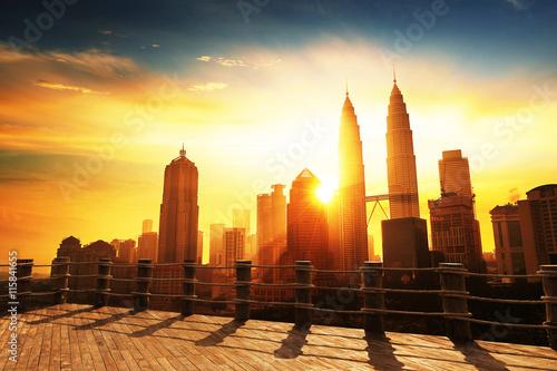 Canvas Prints Kuala Lumpur Silhouette of Kuala Lumpur skyline during sunrise at Malaysia, Asia