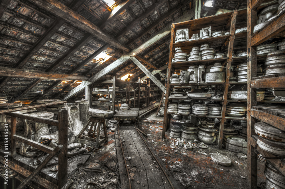 Fototapety, obrazy: Shelves of clay moulds at an abandoned ceramics factory