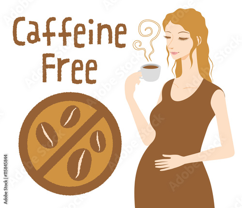 Photographie Pregnant woman drinks caffeine free coffee, Decaf beverage, vector illustration