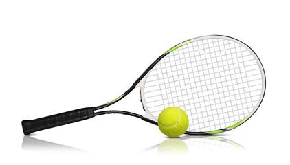 Fototapeta Tennis rackets and ball on white background