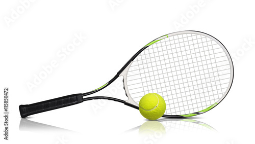Photo Tennis rackets and ball on white background