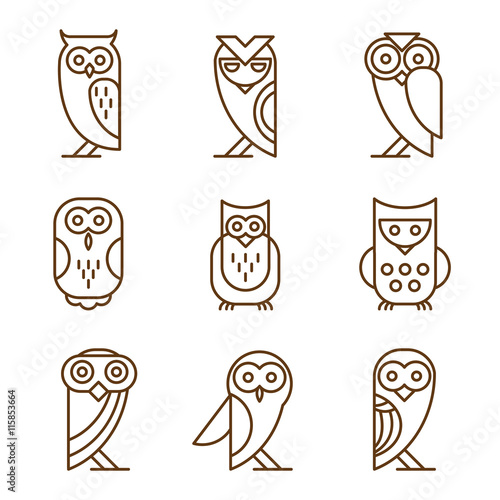 Canvas Prints Owls cartoon Set of Owl Logos and Emblems