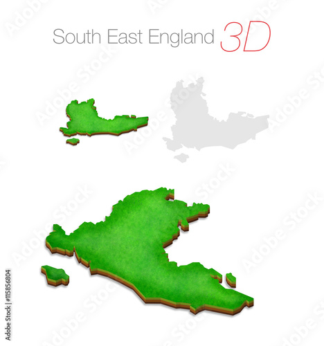 3d Map Of England.Green 3d Map South East England Uk Buy This Stock Illustration