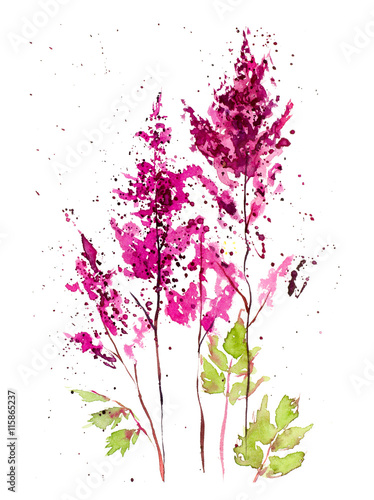 Bouquet from pink flowers. Flowers background, watercolor composition. Decoration with blooming flowers, hand drawing. Illustration.