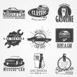Auto service set. Rent a Car. Garage auto. Detailed elements. Typographic labels, stickers, logos and badges.