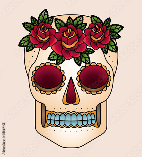 Printed kitchen splashbacks Watercolor skull skull and flowers tattoo isolated icon design, vector illustration graphic