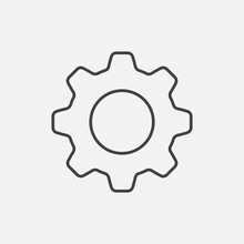 Settings. Line Icon Vector. Cog Sign Isolated On White Background. Flat Design Style
