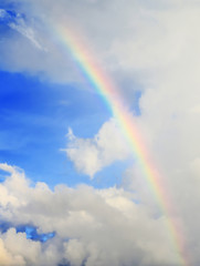 beautiful blue rainbow sky and cloud background