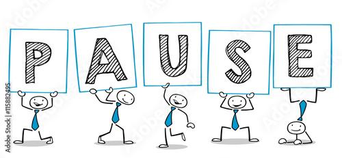 Cartoon Leute halten Pause Schilder