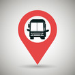 red signal of black bus isolated icon design, vector illustration graphic