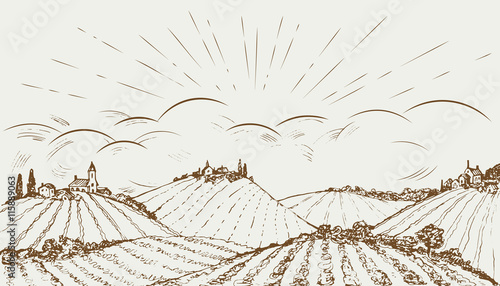 Hand drawn rural field panoramic wide landscape. Vintage vector illustration.