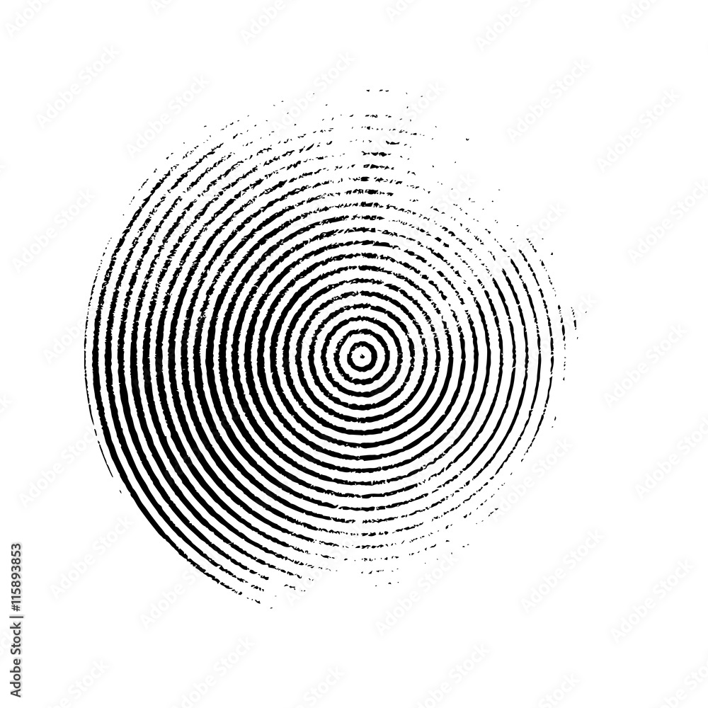 Black grunge circle of the rings. Vector design element