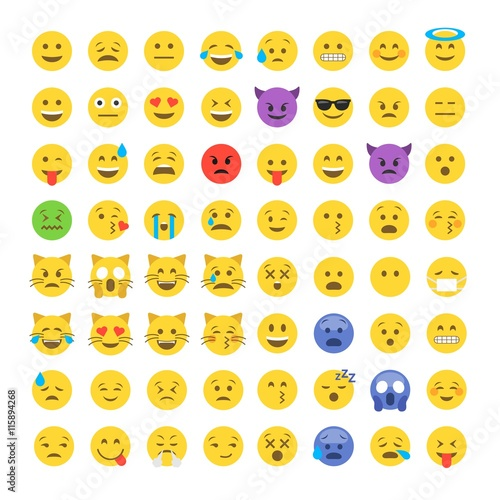 Emoticon emoji set Poster