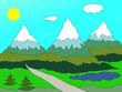 Berge im Sommer, Illustration.