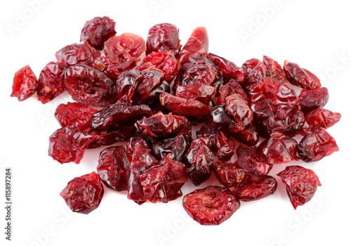 Stampe  pile of dried cranberries on white background