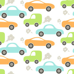 Tapeta Car cute baby vector seamless pattern. Kid fabric and apparel design. Blue, green and orange cute cars pattern.