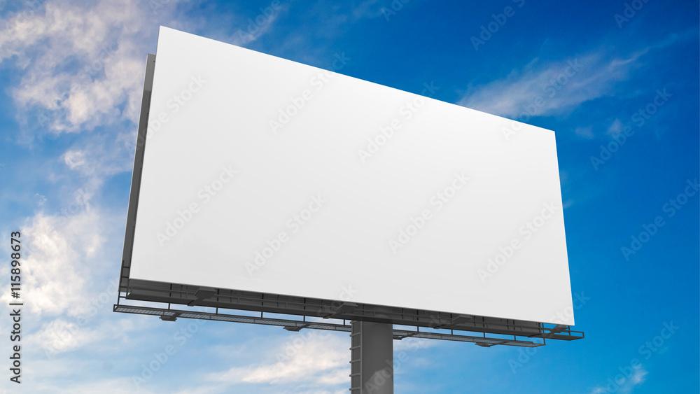 Fototapeta 3D illustration of blank white billboard against blue sky.