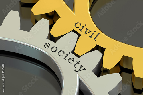 Valokuva civil society concept on the gearwheels, 3D rendering