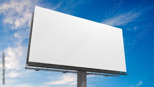 Fotografía  3D illustration of blank white billboard against blue sky.