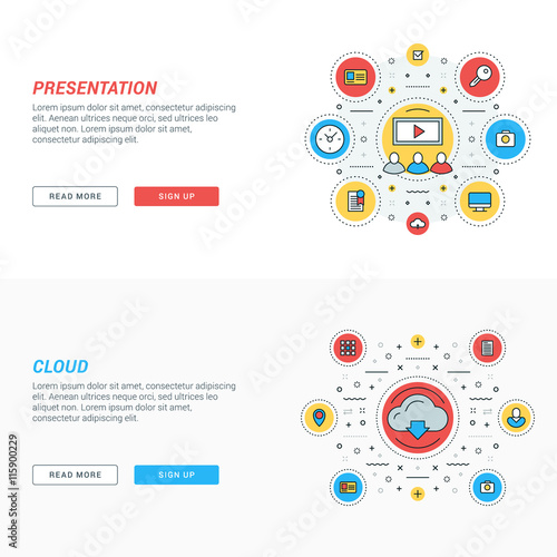 Cloud Storage By Antartstock Set Of Flat Line Business Website Banner Templates Vector Ilration Modern Thin Icons