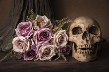 Bouquet Purple Roses With Human Skull Over Tree Background On Wooden Table Still Life Style Halloween Concept