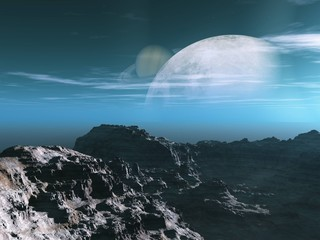 Panel Szklany Fantasy Exoplanet Exploration - Fantasy and Surreal Landscape. 3D Rendered.