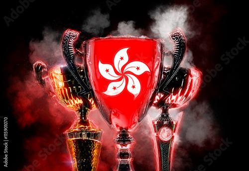 Photo  Trophy cup textured with flag of Hong Kong. 2D Digital illustrat