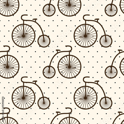 Cotton fabric Retro bicycle seamless pattern on polka dot background. Vintage transport illustration. Old bike background.