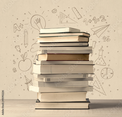 Fotografie, Tablou  A pile of books on table with school hand drawn doodle sketches