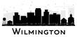 Wilmington City skyline black and white silhouette.