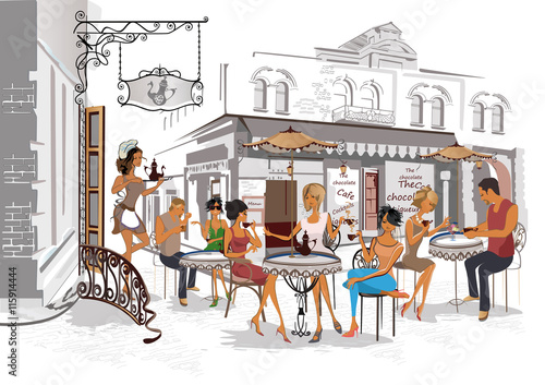 Fototapety, obrazy: Series of the streets with people in the old city. Waiters serve the tables. Street cafe.