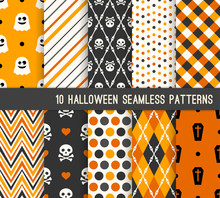 Ten Halloween Different Seamless Patterns.