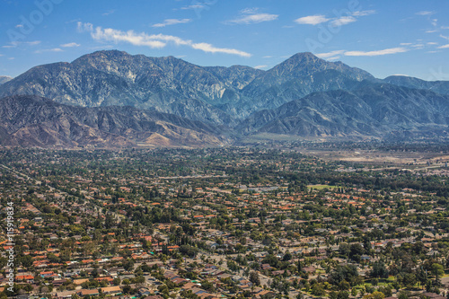 Gorgeous Aerial View of Mount Baldy, Orange County, California, Wallpaper Mural