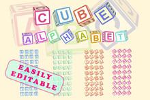 Cube Alphabet. Toy Blocks Font Typeface. Childish Abc.