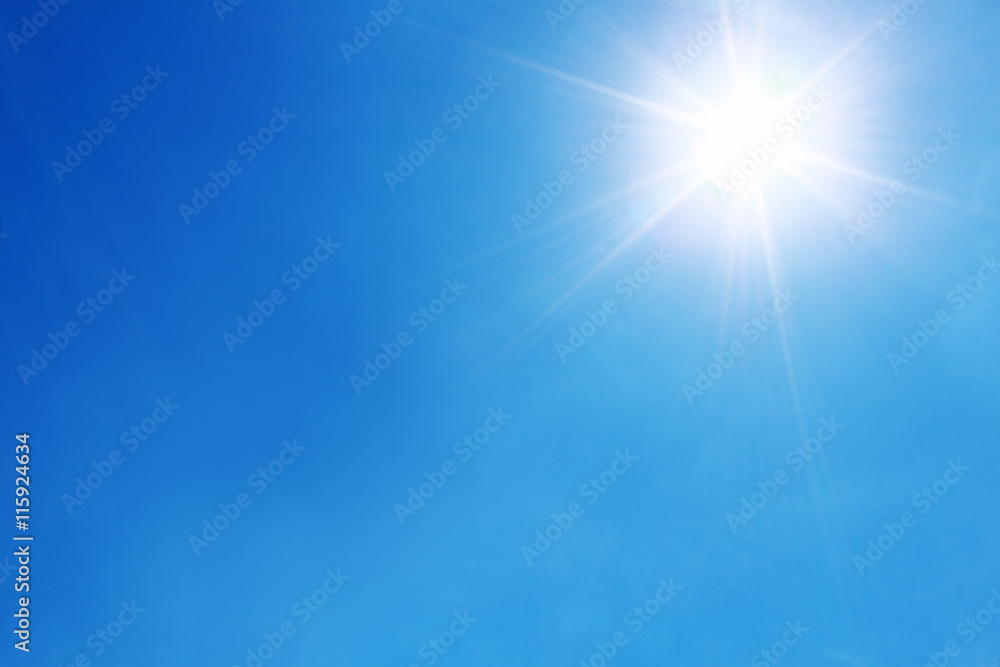 Fototapety, obrazy: bright sun shines on blue sky