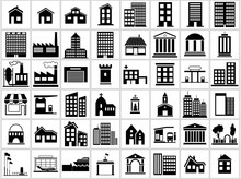Building Icons Set - Black And White Icon Collection, Vector Illustration